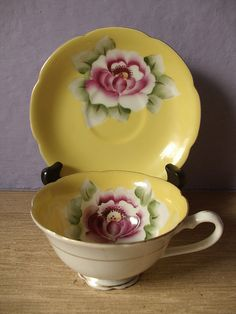 vintage yellow tea cup and saucer set, antique 1950's hand painted tea cup japanese tea set, pink flower
