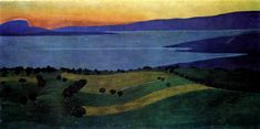 The Lake Leman, effect of the evening, 1900 by Felix Vallotton. Symbolism. landscape