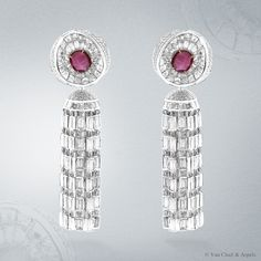 Van Cleef & Arpels 'Nid de Rubis' earrings, Pierres de Caractère Variations collection, white gold, diamonds, yellow gold,cabochon-cut star rubies for 4.57 carats.