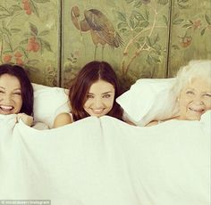 Three generations of Kerr: Miranda Kerr posted this heartwarming snap of herself, mother Therese and grandmother Ann on her Instagram page o...