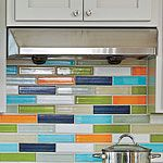 Awesome backsplash...and it oddly matches the colors in our shower curtain?!?