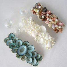 Artisan handmade seashell barrettes for beach weddings. Chose from 3 styles for beautiful hair accessories for your big day-- elegant white, beautiful colors, or unique aqua limpet shells. Beach Wedding Cake Toppers, Beach Wedding Decorations, Beach Wedding Hair, Beach Weddings, Beaded Starfish, Beach Grass, Wedding Hair Accessories, Coastal Decor