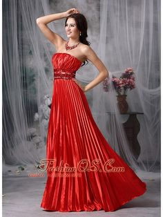 Luxurious Red Column Strapless Taffeta Pleat Beading Evening Dress Floor-length  Item Code: TXFD083127FOS