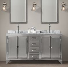 1930s Laboratory Stainless Steel Double Vanity Sink - Restoration Hardware, maybe master