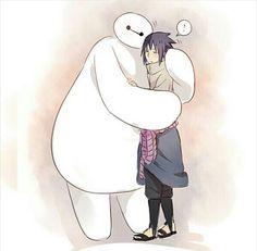 Sasuke, Baymax, Naruto, Big Hero 6, crossover, cute, hugging; Anime