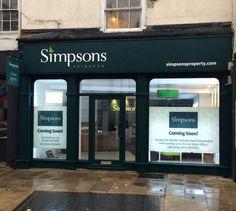 New shopfront at Simpsons Abingdon Salon Interior Design, Beauty Salon Interior, Estate Agents, Store Fronts, Case Study, Iphone Cases, Future, Space, Business