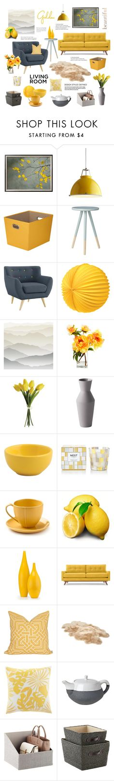 """""""Grey & Yellow"""" by magnolialily-prints ❤ liked on Polyvore featuring interior, interiors, interior design, home, home decor, interior decorating, Original BTC, Honey-Can-Do, Cultural Intrigue and York Wallcoverings"""