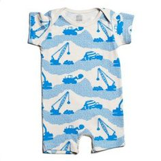 Winter Water Factory Electric Blue Construction Romper #winterwaterfactory #organickidsclothes