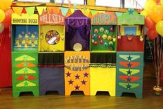 Cute Carnival Games from cardboard polling booths. Tri-Fold Boards would work too!