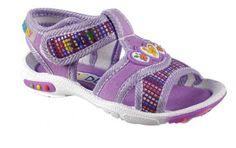 Peddy Dívčí sandály s barevnými detaily - fialové