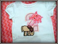 Birthday Farm Applique Shirt- Pig and Horse Shirt- Personalized