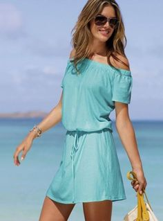 Simple and casual summer dress in blue color with cute off the shoulder short sleeves. Off-the-shoulder tee dress. Casual chic to a tee. Cheap Summer Dresses, Beach Dresses, Cute Dresses, Casual Dresses, Summer Outfits, Cute Outfits, Dress Summer, Summer Clothes, Comfy Dresses