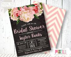 Vintage Floral Bridal Shower Invitation Peony and by shopPIXELSTIX