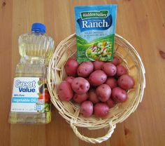 Ranch Roasted Potatoes - 2 lbs. small red potatoes, 1/4 cup canola oil, 1 packet HVR salad dressing mix. Bake @ 450 until golden brown and tender (15-30 min.)