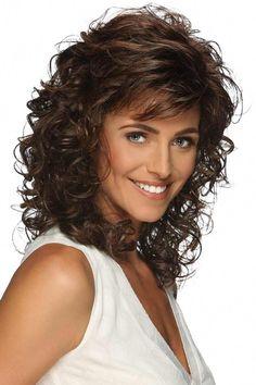 Jessica by Estetica Designs Wigs Curly Hair With Bangs, Curly Hair Cuts, Long Curly Hair, Curly Hair Styles, Long Face Hairstyles, Easy Hairstyles, Layered Hair, Hair Lengths, Design