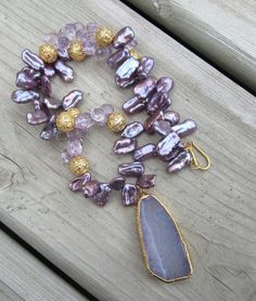 Lavender Gemstone Pendant Necklace  Chalcedony. by LeanneDesigns, $132.00