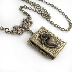 Matters of the Heart - Bronze Book Locket Necklace Jewelry by Gypsy Trading Company.