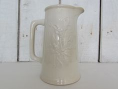 Vintage Wm. Adams and Sons Real Ironstone China Embossed Pitcher by OpenTwentyFourSeven on Etsy