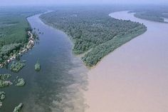 """""""Confluence of the Drava and Danube Rivers near Osijek, Croatia -- Located on the right bank of the river Drava 25 km upstream of its confluence with the Danube is the city of Osijek, Croatia."""" [See also http://pinterest.com/pin/175218241724713203/]"""