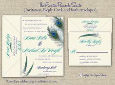 The Rustic Peacock Wedding Invitation Set (5x7) - SAMPLE. $2.50, via Etsy.