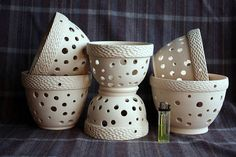 Matherial: ceramic. Color: white There are two sizes - There are 3 pots - Diameters: 15cm (5,9) on a top and 7,5cm (2,95) on a bottom High 12cm (4,72) 1 pot 16$ There are 2 pots - Diameters: 13,5cm (5,31) on a top and 8cm (3,14) on a bottom High 10cm (3,93) 1 pot 14$ This is
