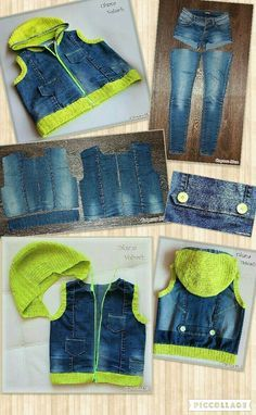 Denim jacket / vest made from old jeans and sweaters . clothes for teen clothes no sewing clothes refashion clothes thrift store clothes tshirt Jeans Refashion, Clothes Refashion, Diy Jeans, Jean Crafts, Denim Crafts, Recycled Fashion, Recycled Denim, Recycled Clothing, Sewing Aprons