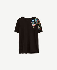 Image 8 of T-SHIRT WITH EMBROIDERED SHOULDER from Zara