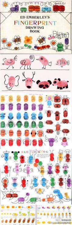 可爱的指纹画,可以让宝宝们发挥自己的创造力,在手指印上画出各种各样的图案!