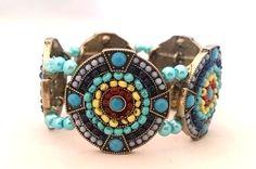 Aztec Design Beaded Bracelet Handmade by RandRsWristCandy on Etsy