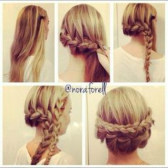 Tuto : coiffure en tresse pour cheveux longs This looks so easy, I think u could do this on my hair. Hair Styles 2016, Medium Hair Styles, Short Hair Styles, Pretty Braided Hairstyles, Cute Hairstyles, Hairstyle Ideas, Hair Ideas, Updos Hairstyle, Hairstyle Tutorials