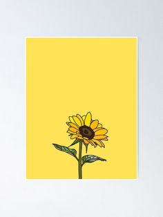 'Aesthetic Sunflower' Poster by clothingproject Sunflower Drawing, Sunflower Art, Sunflower Design, Sunflower Paintings, Aesthetic Painting, Aesthetic Drawing, Aesthetic Art, Bee Painting, Yellow Painting