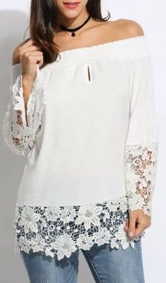 Peace & Lust Off-Shoulder Lace Top - White Casual Outfits For Teens, Stylish Outfits, Madame, Lace Tops, Dress Patterns, Casual Chic, Blouse Designs, Blouses For Women, Dress Outfits