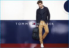 Francisco Lachowski rocks a peacoat for Tommy Hilfiger's fall-winter 2016 campaign.