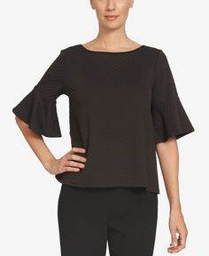CeCe Ruffle-Sleeve Boat-Neck Top