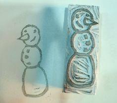 Eraser Stamp Carving – Using Pentel Hi-Polymer erasers. Works great for DIY holiday wrap.