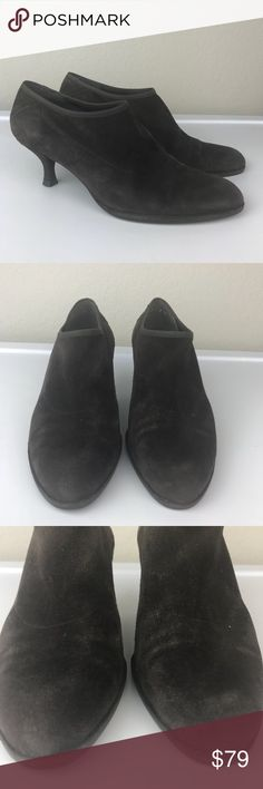 Stuart Weitzman brown suede leather sock boot heel Stuart Weitzman 100% leather soft thin brown suede low heeled sock boot high cut shoe. So pretty on the foot and comfortable as well, great used condition with no major flaws other than some staining on the heel as shown in pics. Size 7 Stuart Weitzman Shoes Ankle Boots & Booties