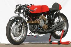 Honda RC166 250cc, Six-Cylinder Grand Prix Motorcycle, shorn of its faring.