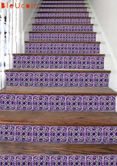 Aubergine Stair riser decal:    Aubergine/ egg plant/ dark purple is the key color for interior in trends. Taking the same inspiration & mixed with