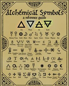 Print this FREE high-quality chart of Alchemy symbols–make your next RPG more mystical! Nothing conjures up mental images of lost secrets quite like alchemy. Alchemy, the fore-runner to modern chemistry, was full of… Alchemy Symbols, Magic Symbols, Witchcraft Symbols, Alchemy Art, Element Symbols, Witchcraft Tattoos, Wiccan Tattoos, Wicca Runes, Alchemy Tattoo