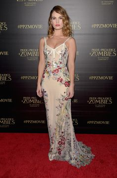 Fabulously Spotted: Lily James Wearing Alexander McQueen - Premiere of Screen Gems' 'Pride And Prejudice And Zombies' - http://www.becauseiamfabulous.com/2016/01/22/fabulously-spotted-lily-james-wearing-alexander-mcqueen-premiere-screen-gems-pride-prejudice-zombies/