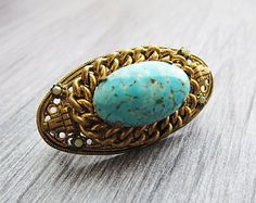 Vintage turquoise brooch Turquoise jewelry Edwardian Brooch Vintage brooch Victorian brooch Gold brooch Edwardian jewellery Antique brooch