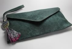 Light blue leather clutch with tassel, freshwater pearl and agate