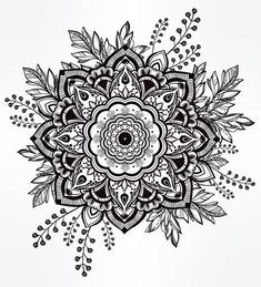 Hand Drawn Ornate Flower In The Crown Of Leaves. by itskatjas Hand drawn ornate flower in the crown of leaves and sticks. Tattoo, astrology, a