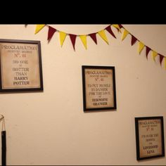 Harry Potter Party. Proclamation signs made by a friend and framed.  He also made the Gryffindor bunting above them.
