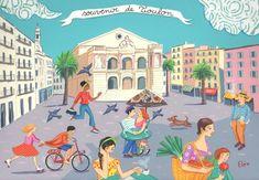 Elé34 -  Souvenir de Toulon place du théâtre (20x29 cm)