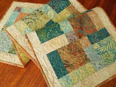 Batik Quilted Table Runner in Island Batik's Crystal Cove, Blue Green Yellow Peach, Quilted Table Mat, Quilted Tablecloth by SusiQuilts on Etsy