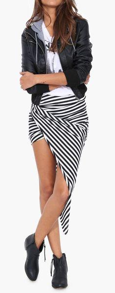 Sailor Knot Skirt in Black/white