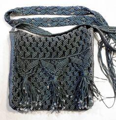 Vintage Macrame Set of Shoulder Bag and Belt 70's Boho Tassel and Fringe Purse…