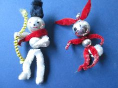Beautiful vintage lot of 2 littl clown/rabbit christmas tree from chenille,glass