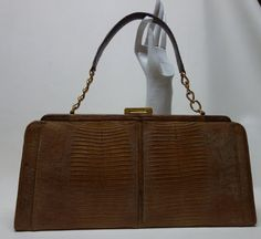 60s PALIZZIO  Brown Tegu Lizard  Handbag Purse 16 by Vintageables